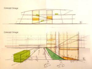 2025年~2050年頃の公共施設(大きめサイズ)を想像してみました(イラスト:山梨祐嗣さん)