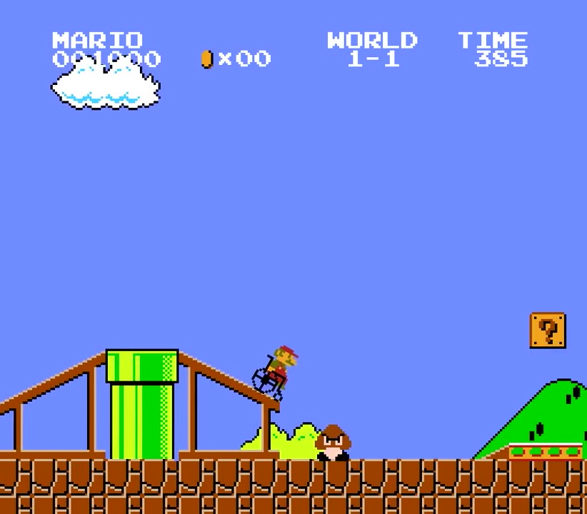 20.次の土管にもスロープが設置されていたので、マリオは乗り越えることができた(相当腕力を鍛えてるなw)。と、ここでようやくクリボー登場!