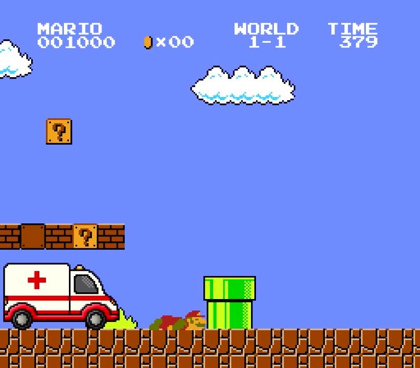 10.誰かが救急車を呼んでくれたみたい。瀕死状態のマリオ、大丈夫か?