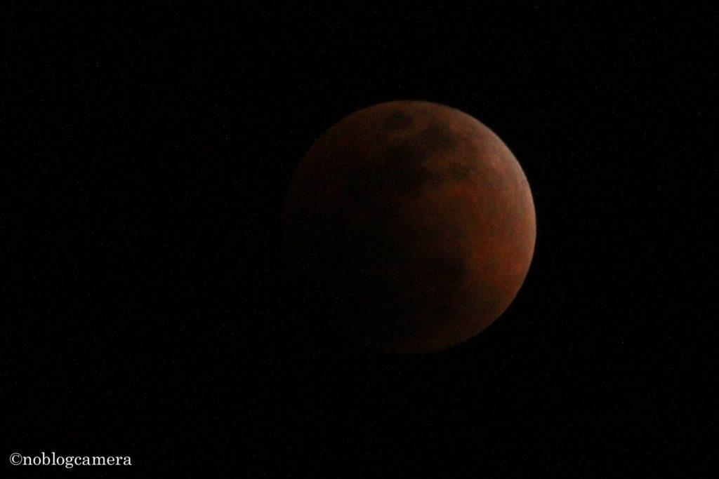 スーパー・ブルー・ブラッドムーンのピーク!!2018年21時51分、完全に地球の影に月が隠れました(撮影:大澤信陽)